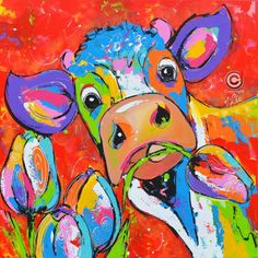 Dit is een: Acrylverf op doek, titel: 'Koe met tulp op rood' kunstwerk vervaardigd door: Liz
