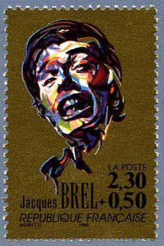 Zoom sur le timbre «Jacques Brel La chanson française»