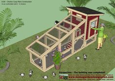 S100 - Chicken Coop Plans Construction - Chicken Coop Design - How To Build A Chicken Coop  It can comfortably hold 6 - 8 chickens  ...  Un...