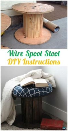 DIY Wire Spool Stool Instruction - Wood Wire Spool Recycle Ideas #Furniture