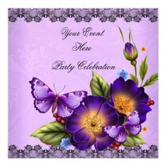 Butterfly Purple Black Lace Flower Damask Party by Zizzago.com