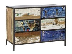 This piece is both stunning and practical. Suitable for use in a bedroom, dining room or lounge room. The Symbiosis Drawer Unit features denim print on the top and half of the drawer fronts, big and bold and protected by a thick fibreglass finish. The recycled timber in the ends and remaining drawer fronts is beautiful and unique, no two pieces the same. This is all put together in a solid steel frame that completes the look.  Width: 110cm Depth: 45cm Height: 80cm