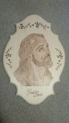 Wood burning I did of Jesus.