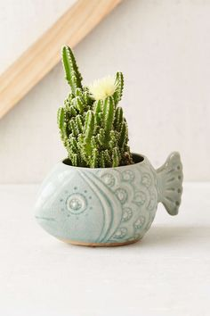 Plum & Bow Fish Planter- Turquoise One from Urban Outfitters. Shop more products from Urban Outfitters on Wanelo. Ceramic Planters, Planter Pots, Cactus E Suculentas, House Of Turquoise, Plants Are Friends, Clay Pots, Cacti And Succulents, Ceramic Art, Indoor Plants