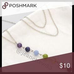 Beaded Chakra Necklace This necklace has 7 colorful beads, each representing an area of the chakra. The color might vary a little on your necklace due to lighting.  It is an 18 inch silver plated chain (with an extender).   The basic idea behind the necklace is that the beads take in negative energy to help you feel more balanced and peaceful. Jewelry Necklaces