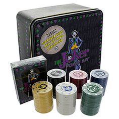 Be prepared to go all in with The Joker Poker Set. Joker character designs and logos can be found on each card and gambling chip, as well as the storage tin itself, which contains 120 poker chips, 1 dealer chip, 1 pack of 53 playing cards, and 2 Jokers.