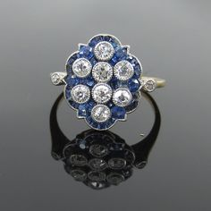 0.85ct European Cut Diamond & 1.0ctct French Cut Sapphire Platinum & Gold Ring