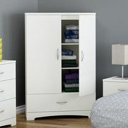 Sophisticated and stylish, the South Shore Step One Armoire will blend in perfectly with your trendy contemporary home decor. This gorgeous armoire has simple and sleek lines. It features elegant metal handles in a brushed nickel finish, and a stylish kick plate to coordinate with your existing decor. This Step One Armoire from South Shore armoire has 2 adjustable shelves, a spacious polymer drawer with safety latch, and 2 hooks for hanging your clothes, providing you with ample space for…