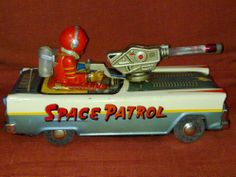NOMURA SPACEMAN PATROL ROBOT SHIP VINTAGE FORD CAR TIN BATTERY TOY 1950s JAPAN