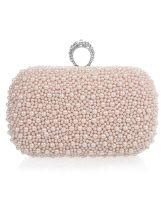 evening bags: Your Gallery Handmade Elegant Luxury Full Pearl Bridal Evening Clutch Bag Clutches For Women, Pearl And Diamond Ring, Bags Online Shopping, Pink Prom Dresses, Bride Dresses, Bridesmaid Dresses, White Handbag, White Purses, Evening Bags