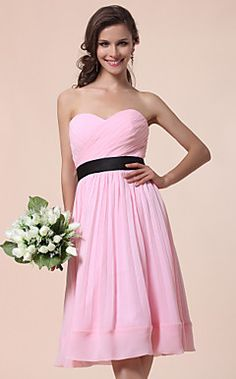A-line Sweetheart Knee-length Chiffon Over Satin  Bridesmaid... – USD $ 99.99
