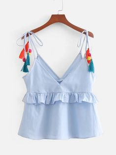 To find out about the Tassel Tie Ruffle Top at SHEIN, part of our latest Tank Tops & Camis ready to shop online today! Summer Outfits, Cute Outfits, Mode Boho, Shirt Blouses, T Shirt, Ruffle Top, Cute Tops, Women's Tops, Latest Fashion For Women