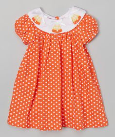 Another great find on #zulily! Orange Candy Corn Smocked Dress - Infant, Toddler & Girls #zulilyfinds