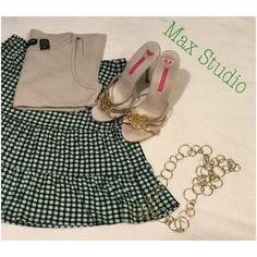 Green dots✌️ Ruffled green dots miniskirt .... Max Studio Skirts Mini