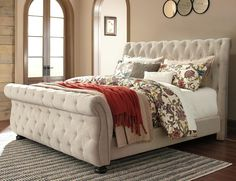 Bedroom Ideas Sleigh Bed chesterfield upholstered sleigh bed | metal beds | restoration