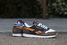 Highs and Lows x Reebok Classic Leather 'Autumn Leaves' - Tags: sneakers, low-tops, suede, brown, orange, black, gum sole
