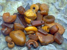 Jorvik (York) Viking artifacts--amber beads and bead fragments.