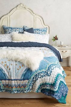 paravel quilt from anthropologie - home decor Interior Decorating Styles, Home Decor Trends, Decor Ideas, Anthropologie Bedroom, Interior Design Boards, European Home Decor, Bedroom Bed, Bedroom Ideas, Master Bedroom