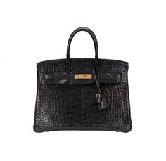 Hermes Matte Black Alligator Birkin 35cm with Gold Hardware