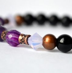 Amethyst Obsidian and Agate gemstone bracelet for by BlissfulLily, €18.00