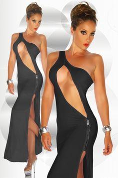 Abendkleid in schwarz mit super heissem Ausschnitt und hohem Schlitz - zu kaufen im zugeschnuert-shop.de