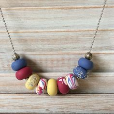 Blue, raspberry and mustard yellow necklace, polymer clay necklace, beaded necklace handmade by rubybluejewels