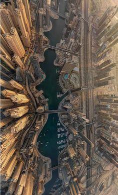 Dubai Marina pictured from above. Stunning ♥