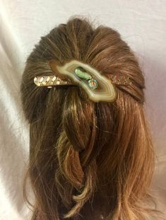 Large Yellow Stone Hair Clip Glass French Barrette Handmade Hair Jewelry Hair Accessories Autumn Barrettes for Women Long Hair Accessory