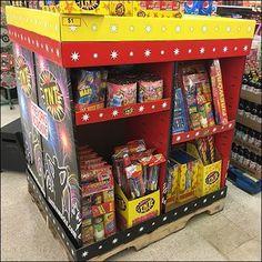 Fireworks Full-Pallet Assortment Merchandising – Fixtures Close Up Tool Shop, Corrugated Metal, Merchandising Displays, Fireworks, Crates, Signage, Pallet, Garage, Retail