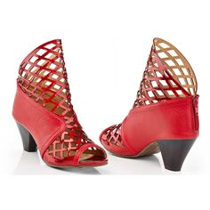 Women's NY VIP Sandra Caged Snake Heeled Sandals ($37) ❤ liked on Polyvore featuring shoes, sandals, pumps & heels, red, cage sandals, snake shoes, heeled sandals, snake sandals and red shoes