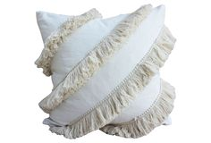 Tassel 20x20 Linen-Blend Pillow, Ivory | One Kings Lane