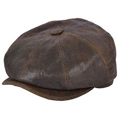 Gladwinbond Sheep Skin Newsboy Leather Cap - Brown 59cm Hats For Men 44dbecf3cf39