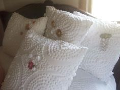 Four Shabby Chic Vintage White Chenile Pillows with Jewelry | Thift store chenille becomes a pillow!
