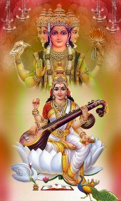 The goddess Saraswati is often depicted as a beautiful woman dressed in pure white, often seated on a white lotus, which symbolizes light, knowledge and truth Saraswati Photo, Saraswati Mata, Saraswati Statue, Saraswati Goddess, Shiva Shakti, Durga Maa, Goddess Art, Hindus, Saraswathi Devi