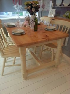 Beautiful Shabby Chic Solid Pine Farmhouse Table and Chairs set  Painted  with Annie Sloan chalk paint in the  Cream  shade  Sympathetically  distressed and a  Using Rust Oleum chalk furniture paint  clotted cream    Ronseal  . Dining Room Furniture Cream Painted. Home Design Ideas