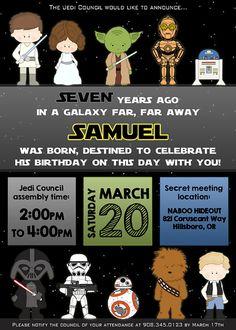 Star Wars birthday invitation personalized for by NiteLiteDesign