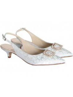 7d04c13285c Rainbow Club Trista Buckle Front Floral Jacquard Ivory Designer Wedding  Shoes