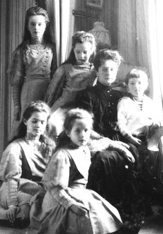 Empress Alexandra Feodorovna of Russia with her daughters Maria, Olga, Tatiana, and Anastasia and her son, Tsesarevich Alexei