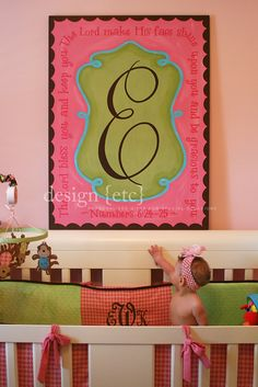 I LOVE this idea- a giant monogram with a scripture painted around it....this does not have to just be for a baby room, great for a family by entry.....would like to do this in bentleys room