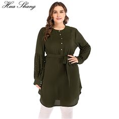 42c5cab31a4 4XL 5XL Plus Size Women Blouses Green 2018 Summer Beading Long Sleeve  Buttons Tunic Ladies Tops Indonesia Long Chiffon Blouse