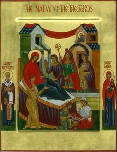 Nativity of the Theotokos, with St. Anna in the margins inches by 5 inches Religious Icons, Religious Art, Paint Icon, Queen Of Heaven, Russian Orthodox, Orthodox Christianity, Blessed Virgin Mary, Orthodox Icons, Our Lady
