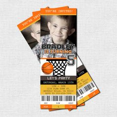 Personalized Birthday Party BASKETBALL TICKET by nowanorris, $9.00