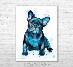French Bulldog watercolor painting print by Slaveika Aladjova, art, animal, illustration, home decor, Nursery, gift, Contemporary, dog art