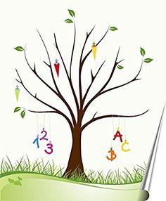 Poster Zuckertütenbaum, Erinnerungsbaum Geschenk Schulanfang Fingerabdruck der Gäste, Gästebuch Schuleinführung, Geschenk Zuckertüte