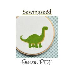 Easy Dinosaur Cross Stitch Pattern, INSTANT DOWNLOAD. $5.00, via Etsy.