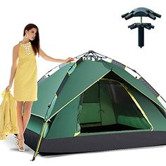 nice Outdoor Hiking Automatic Pop-up Double Layer Instant Open Camping Family Umbrella Tent Waterproof for 3-4 Person Umbrella Tent