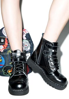 T.U.K. Brogue 2-Buckle Combat Boots | Dolls Kill