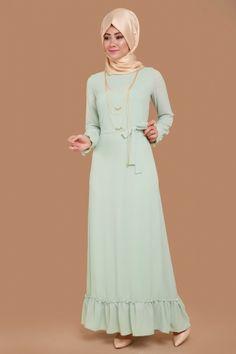 B.N.M Tesettür - Manşeti Fırfırlı Kolyeli Elbise BNM00180 Mint (1)