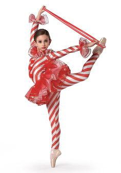 H321 - Candy Cane Dance #dancecostume #recitalcostume #holidaycostume