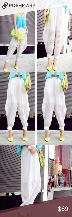 """🆕 White Chiffon Harlem Joggers Pants Leggings Color: White Material: 100% cotton blend Details: Cropped; Elastic waist; Chiffon  Measurements (approx): Small (Waist 24.5-31"""" Length 33.5"""" Hip 44"""" Inseam 16"""") Medium (Waist 26-32"""" Length 34"""" Hip 45.5"""" Inseam 16.5"""") Large (Waist 27.5-34"""" Length 34.5"""" Hip 47"""" Inseam 17"""") Pants"""